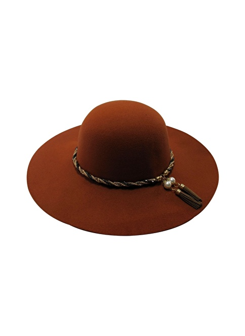 Laslusa İçten Ayarlanabilir Geniş Kenar Keçe Şapka Oranj